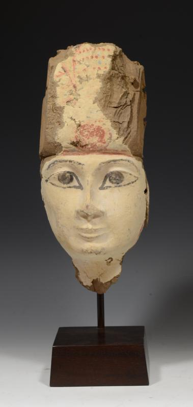 Egyptian Wood Painted Sarcophagus Mask